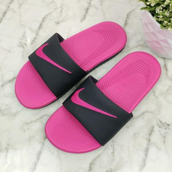 607f6defaa7 Nike Girls  Kawa Sport Slides Black Vivid Pink 4Y.  M 5af740faa4c485ccc9cc023e